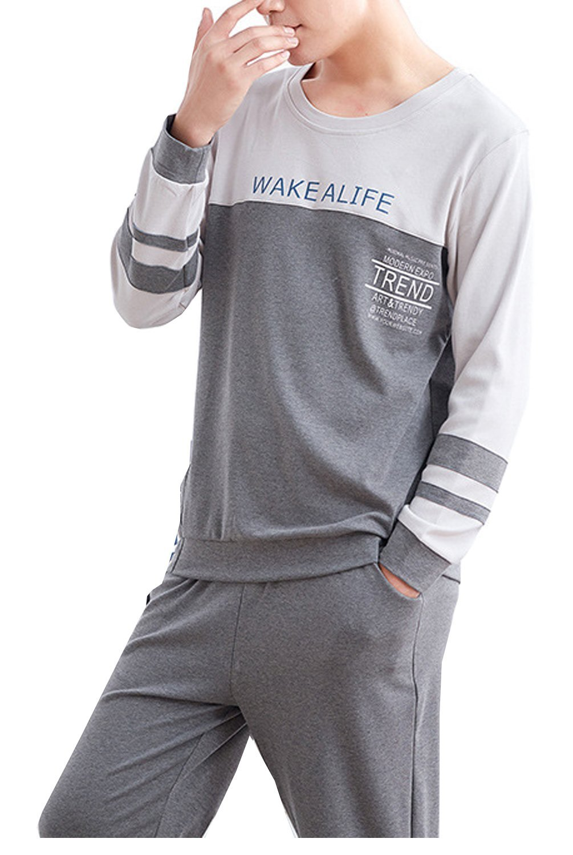 Boy's Cotton Fashion Sleepwear Long Sleeve Top Bottom Pajama Set Young 10-18 Years by BYX SweetLeisure (Image #1)