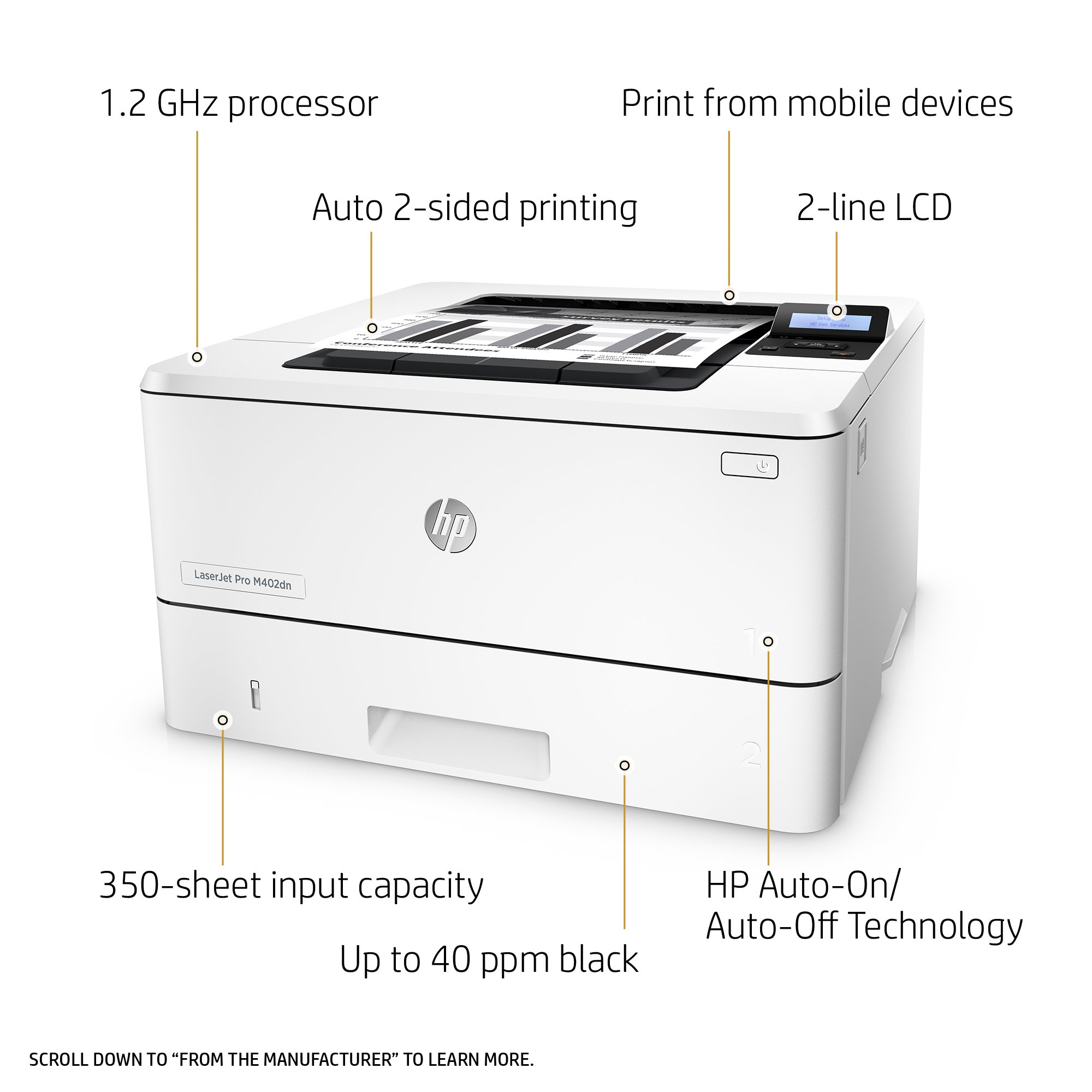 HP LaserJet Pro M402dn Laser Printer with Built-in Ethernet & Double-Sided Printing, Amazon Dash Replenishment ready (C5F94A) by HP (Image #2)