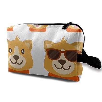 867650e03242 Amazon.com: LEIJGS Cartoon Flat Dog Emoticons Small Travel Toiletry ...