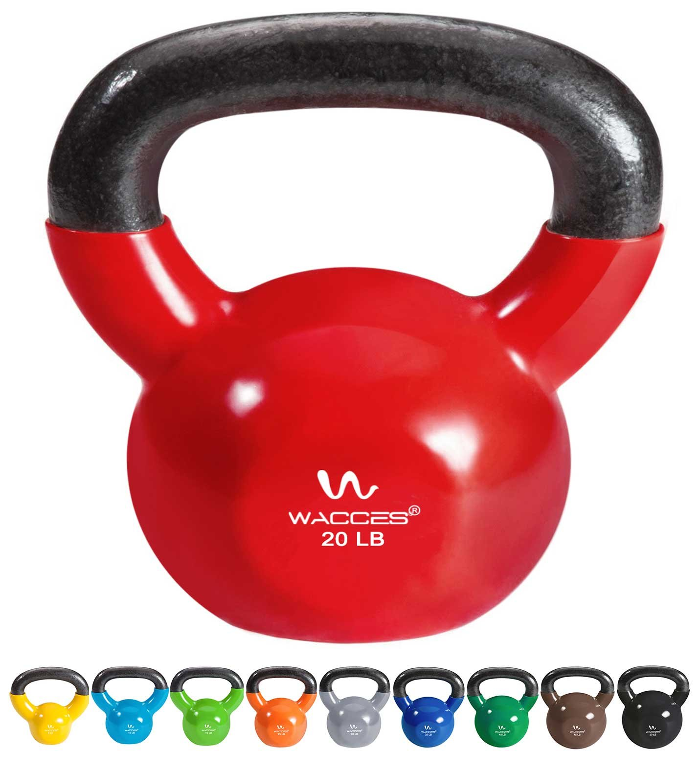 Wacces Single Vinyl Dipped Kettlebell for Croos Training, Home Exercise, Workout 20LB