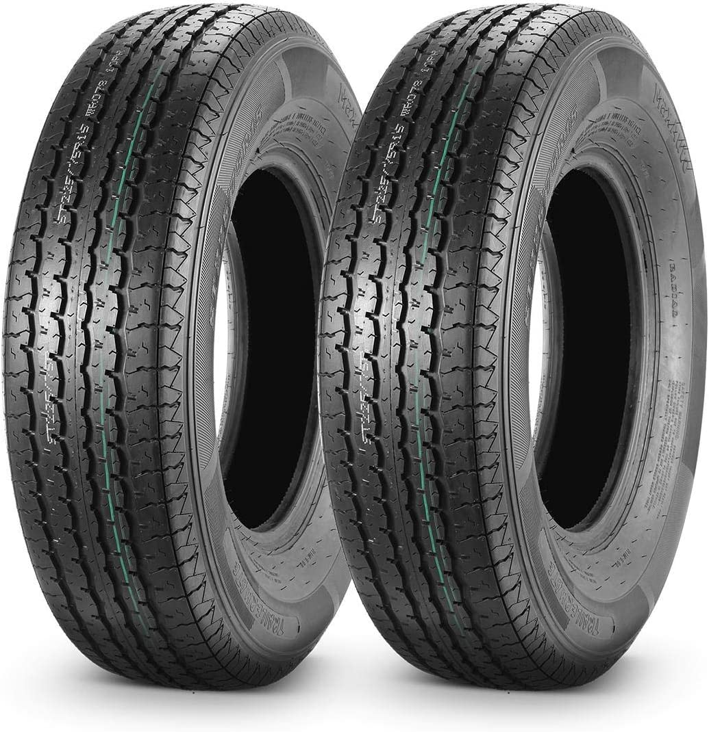 MaxAuto 2PCS ST 225/75R15 Trailer Tires 10 Ply Load Range E Heavy Duty w/Featured Side Scuff Guard