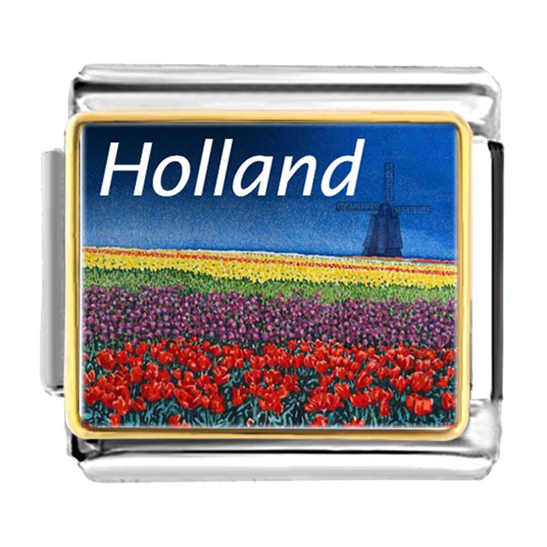 GiftJewelryShop Gold Plated Travel Holland Bracelet Link Photo Italian Charm Bracelets