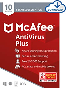 McAfee AntiVirus Protection Plus 2020 Internet Security Software, 10 Device, 1 Year - Download Code