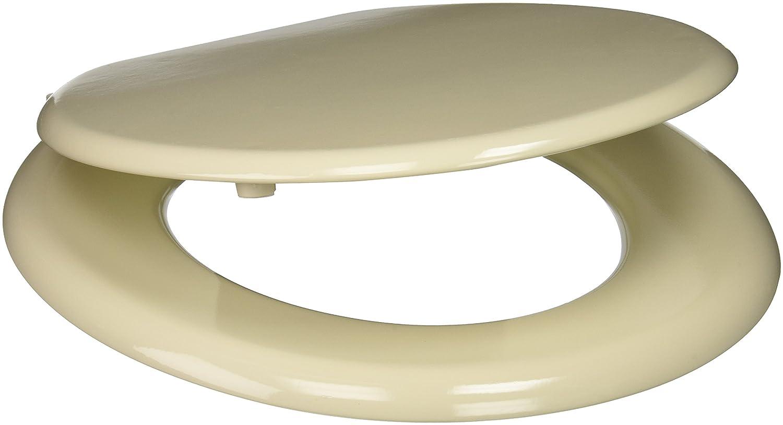 free shipping PlumbTech 101-01 Standard Grade Molded Wood Round Toilet Seat, Bone
