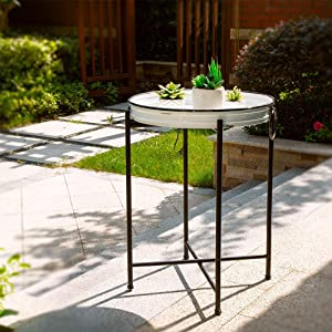 Glitzhome Rustic TV Tray Accent Foldable Farmhouse Metal Enamel Sofa End Side Serving Table