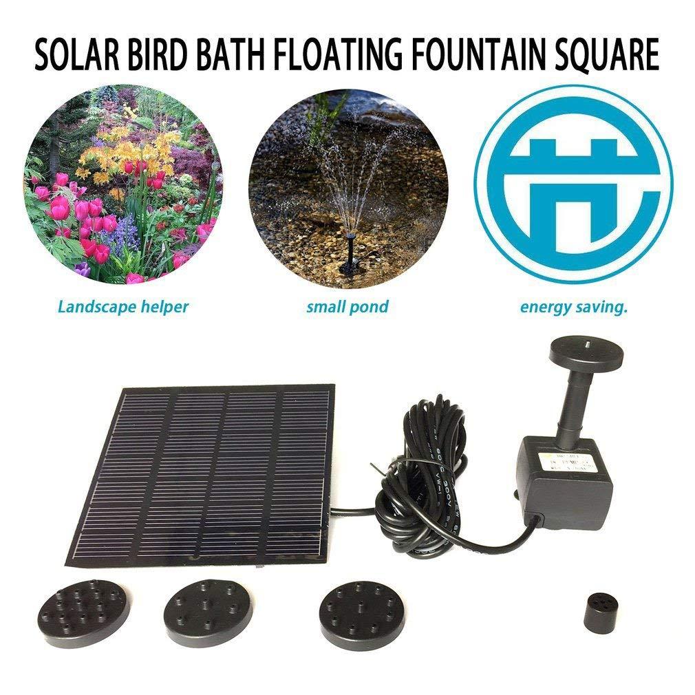 Panel Solar Kit de Bomba de Agua Fuente Piscina Estanque de jard/ín Sumergible Riego Negro