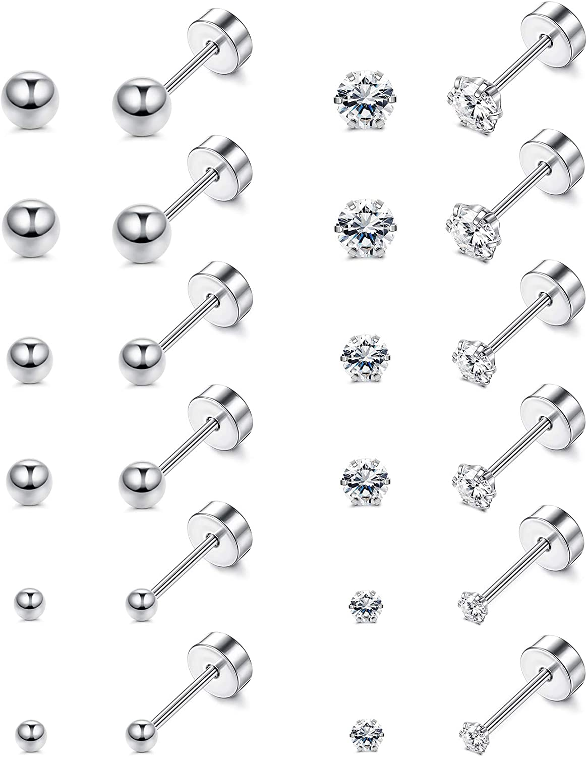 JOERICA 12 Pairs Stud Earrings for Women Men Stainless Steel Tiny Barbell Ear Stud Piercing Small CZ Round Ball Cartilage Earrings Set 2-4MM