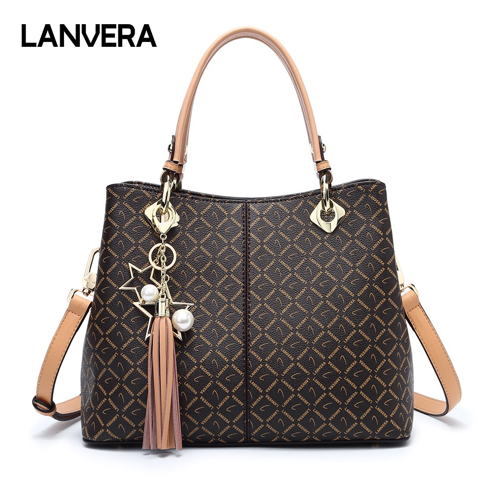 Lanvera Purse Tote Bags,PVC Leather Top Handle Handbags for women,Large Shoulder Crossbody Messenager Satchel (Beige)