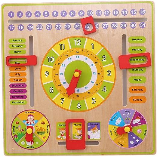 Sipliv Calendrier en bois de calendrier de enfants calendrier enseignement jouets /éducatifs dhorloge