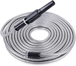Garden Hose 50ft Metal Garden Hose 304 Stainless Steel Lightweight Kink-Free Flexible Water Hose