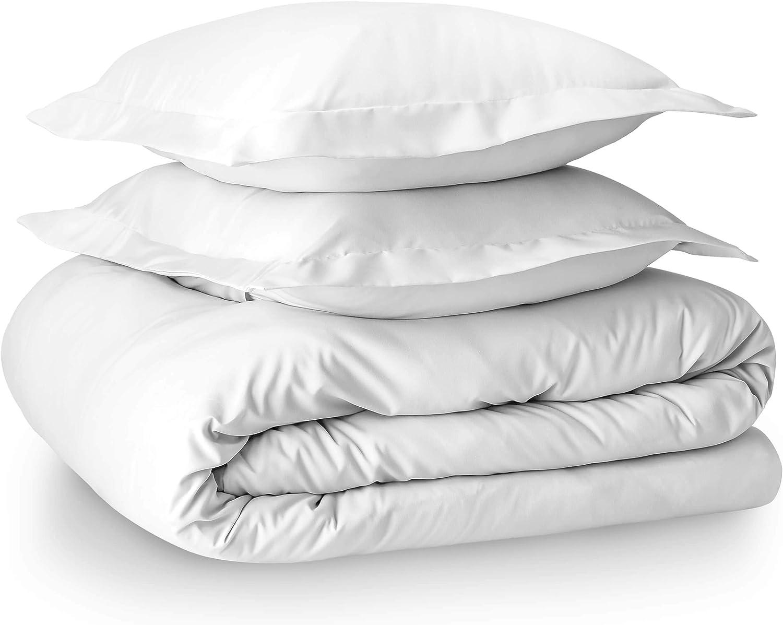 Bare Home Luxury 4 Piece Duvet Insert + Duvet Cover Set - Premium 1800 Ultra-Soft Brushed Microfiber - Easy Care (Full/Queen, White)