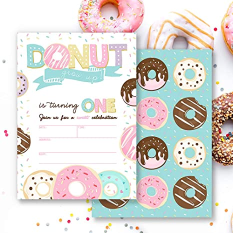 Invitaciones de Primer cumpleaños para niña con diseño de ...