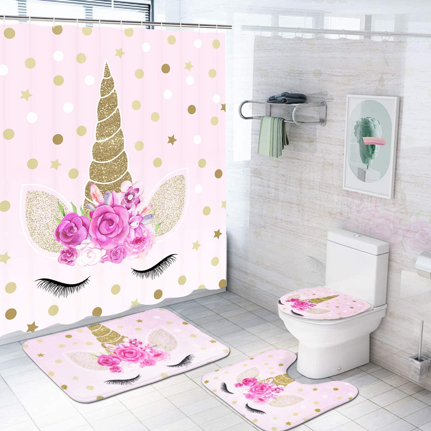 Romeooera 10 Piece Unicorn Shower Curtain Sets with Non Slip Rugs, Toilet  Lid Cover and Bath Mat, Pink Unicorn Shower Curtain Waterproof with 10  Hooks