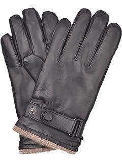 YISEVEN Herren Lederhandschuhe aus Hirschleder mit Fleecefutter von Handgen/äht Drei Klassischen Aufn/ähten
