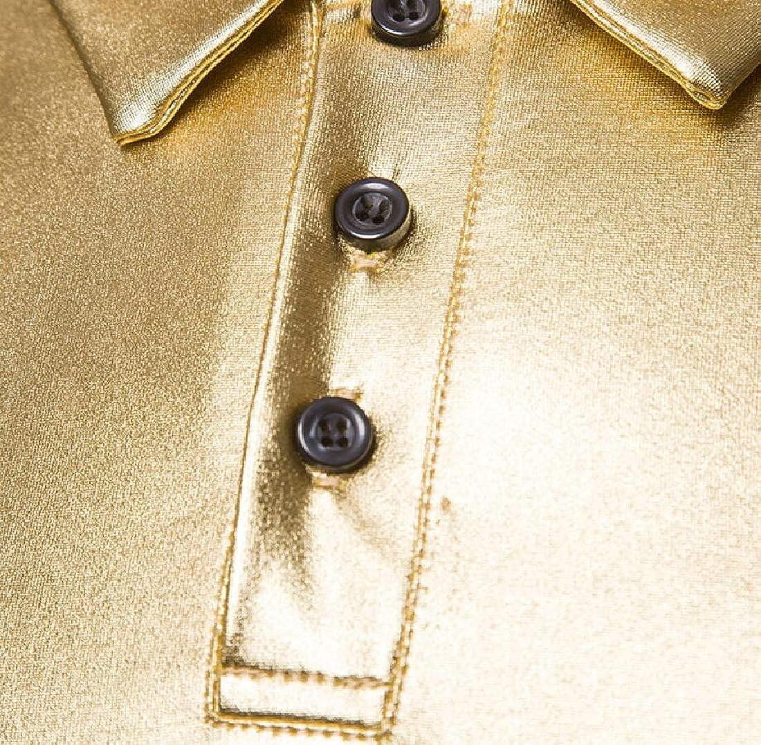 M/&S/&W Mens Long Sleeves Polo Shirt Metallic Shiny V-Neck Casual T-Shirts Tops