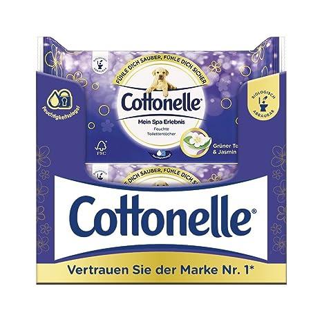 Cotton Elle húmedas inodoro paños Mein experiencia Spa con extractos de té verde y jazmín,