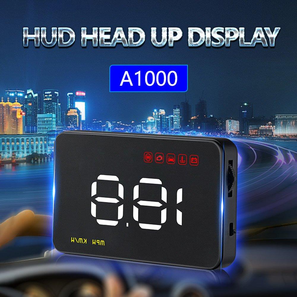KKmoon 3,5Auto HUD Head Up Display mit OBD OBDII Schnittstelle Plug /& Play KM//h MPH Geschwindigkeit Warnung Wassertemperatur Spannung Kilometer