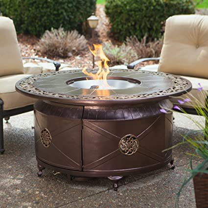 Delicieux Round Propane Fire Pit Table With Decorative Scroll