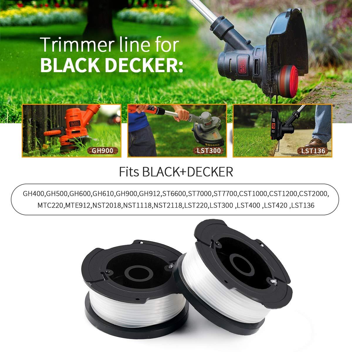 """6 Stück Spule Schnur Für Black /& Decker Nylon Schwarz 0.065/"""" Rasentrimmer LST136"""