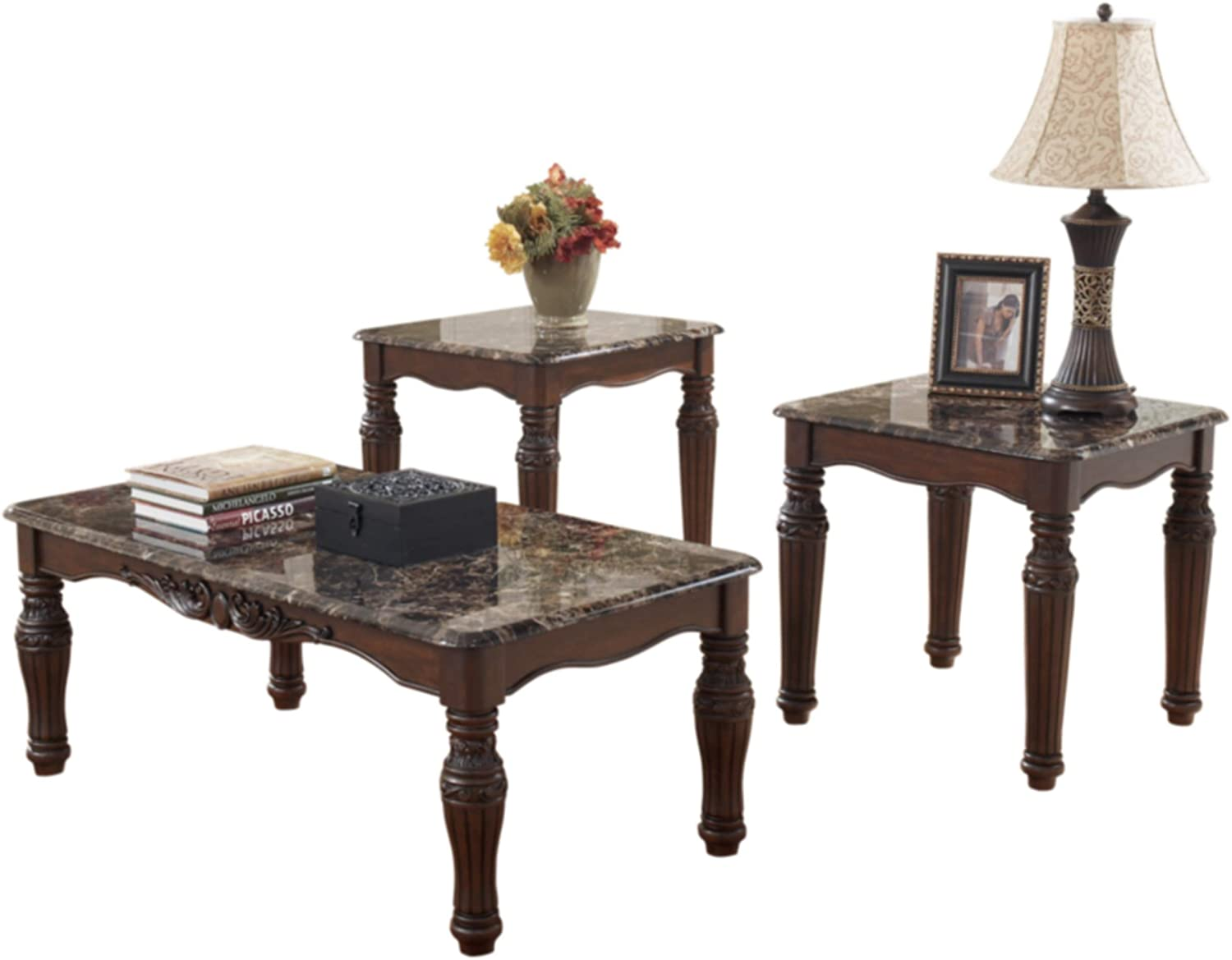 Amazon Com Signature Design By Ashley Traditional Faux Marble Top 3 Piece Table Set Coffee Table And 2 End Tables Dark Brown Furniture Decor