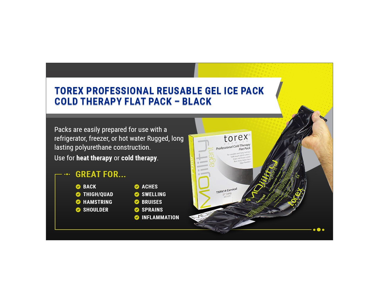 Torex Mojility - Professional Hot and Cold Therapy Flat Pack - Reusable Gel Ice Pack (Standard Black 10'' x 13'') - Great for Back, Shoulder, Leg, Swelling, Bruises, Sprains, Inflammation