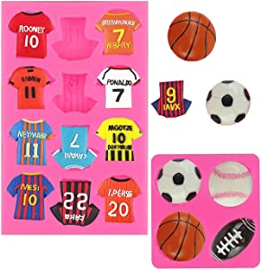 2 Set Football Theme Silicone Mold Balls Shirts Fondant Gum Paste Molds Chocolate Candy Molds for Cake Decorating Sugar Crafts Polymer Clay