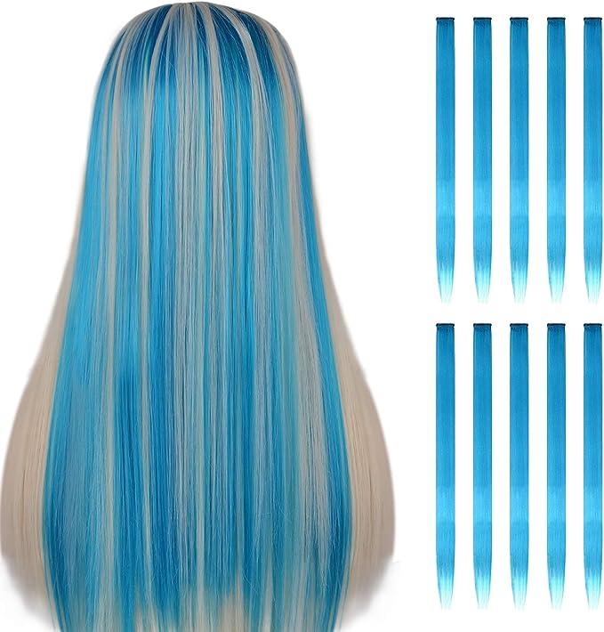 FESHFEN extensiones de cabello colores, 10Pcs de cabello Cielo azul para niñas Party Highlight Postizos de pelo color liso y colorido Clip en ...