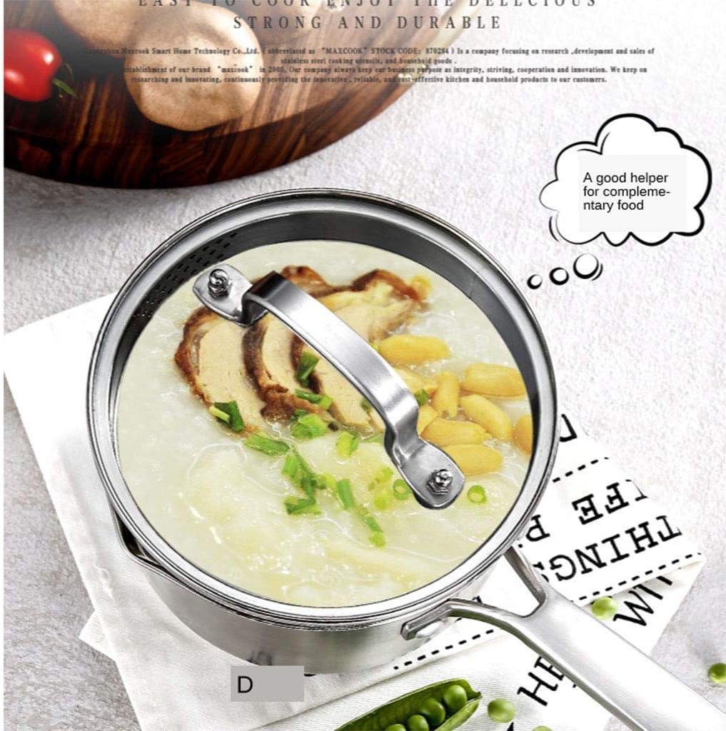 Ausguss zum einfachen Gie/ßen mit Griff Siebdeckel CUTICATE 304 Edelstahl-Topf mit Glasdeckel Mehrzweck-Saucenpfanne mit Deckel So/ßentopf