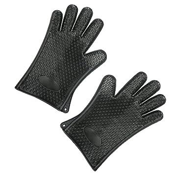 hecef cocina silicona cookig guantes, resistente al calor guantes de silicona para horno guantes para barbacoa de cocina para horno. negro: Amazon.es: Hogar