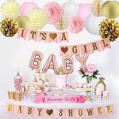 Decoraciones de baby shower para niña Rosa Bandera, Momia para ser marco, Globos de papel de carta y decoraciones de papel de seda: Hogar