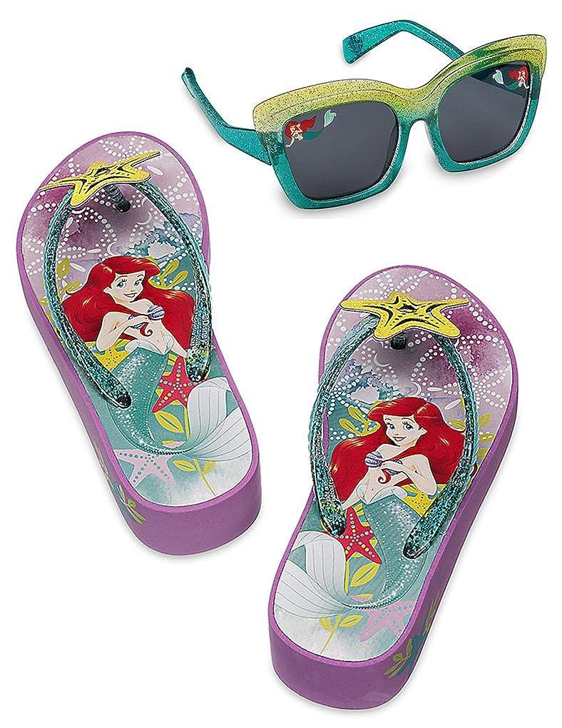 Disney Store Girls Ariel Platform Flip Flops Sandals and Sunglasses Set