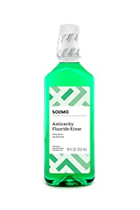 Amazon Brand - Solimo Anticavity Fluoride Rinse, Alcohol Free, Mint, 18 Fluid Ounce