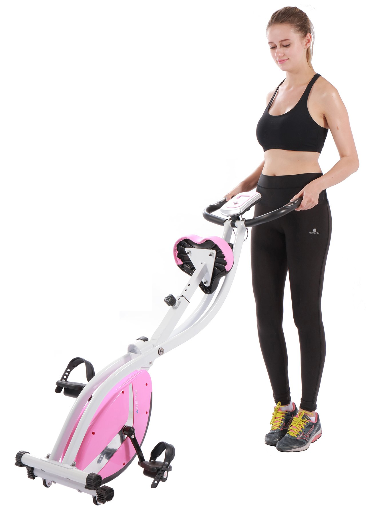 PLENY Foldable Upright Stationary Exercise Bike with 16 Level Resistance, New Exercise Monitor with Phone/Tablet Holder (Pink) by PLENY (Image #7)