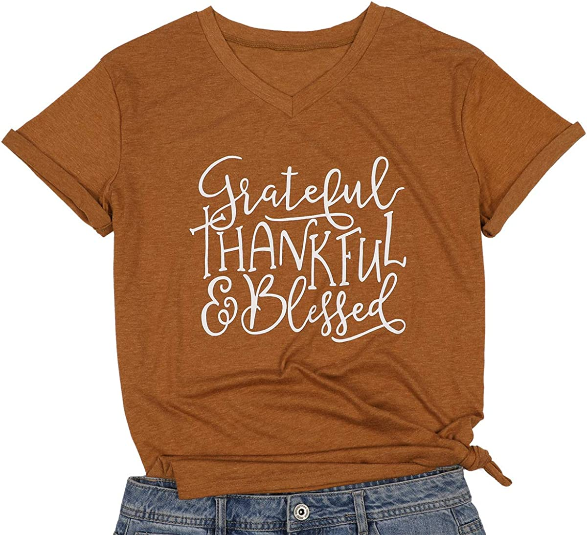 MAXIMGR Women Short Sleeve Grateful Thankful Blessed Tshirts V-Neck Casual Thanksgiving Top Tees