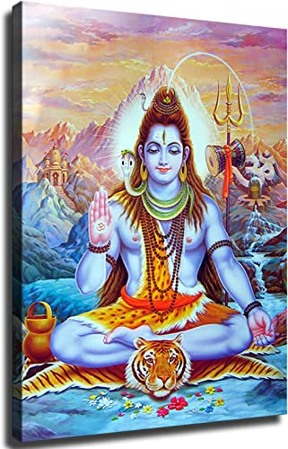 GREAT Modern Wall Poster Art Print Oil Painting on Canvas Home Decor Wall Decoration Canvas Art Shiva Lord Canvas Paintings On The Wall Hindu Gods Wall Art Canvas Hinduism Wall Posters And Prints Cuadros Picture Home Decor Framed-Ready to Hang,24 32inch