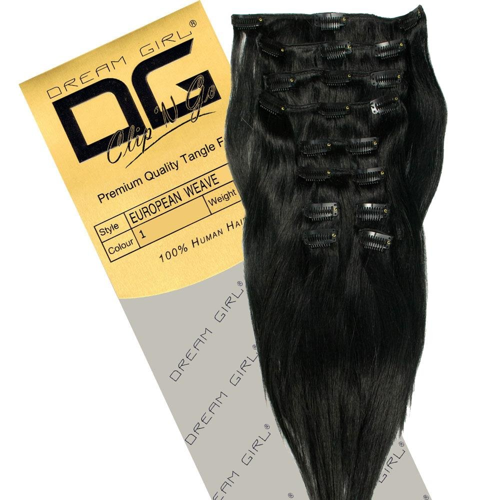 Dream Girl 14 Inch Colour 1 Clip On Hair Extensions Amazon