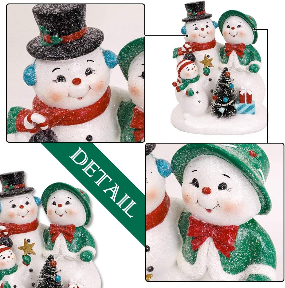 Valery Madelyn 8 3 Inch Polyresin Christmas Snowman Figurines Decoration With Led Lights Themed With Classic Collection