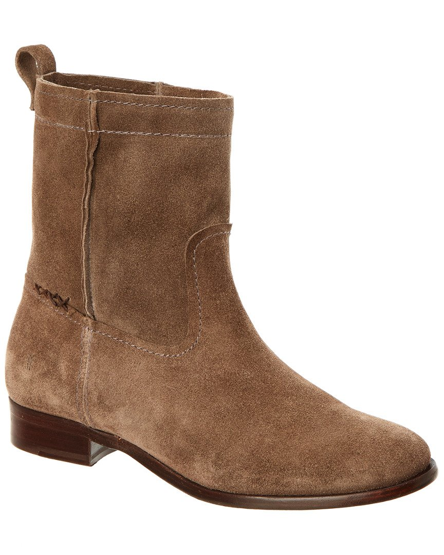 FRYE Women's Cara Short Suede Boot, Elephant, 7.5 M US