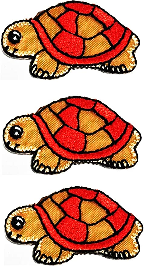 Amazon Com Set 3 Pcs Mini Small Red Turtle Iron On Patch Cute Turtle Sea Animals Cartoon Embroidered Patch Applique Embroidery Diy Clothing T Shirt Polo Backpacks Cap Costume 02 Arts Crafts Sewing