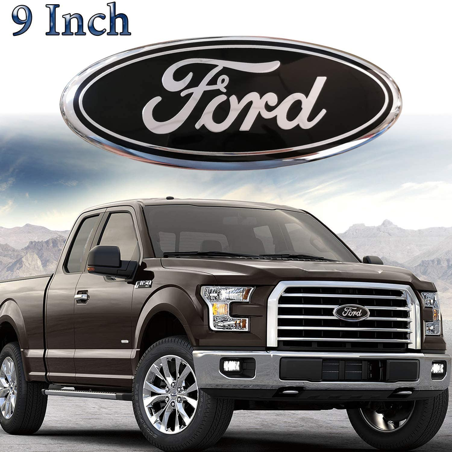 F150 Emblem Oval 9X3.5 Blue Ford Front Grille Tailgate Emblem Decal Badge Nameplate Fits for 04-14 F250 F350,11-14 Edge,11-16 Explorer,06-11 Ranger 9inch Ford Emblem Ford Decorative Accessories
