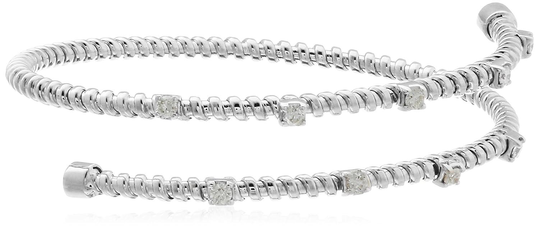 d4601239dac 14k White Gold Two Row Diamond Bangle Bracelet (1/2cttw, I-J Color, I1  Clarity)