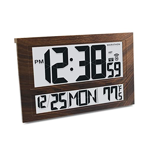 Marathon CL030025WD Commercial Grade Jumbo Atomic Wall Clock with 6 Time Zones, Indoor Temperature and Date Wood Tone