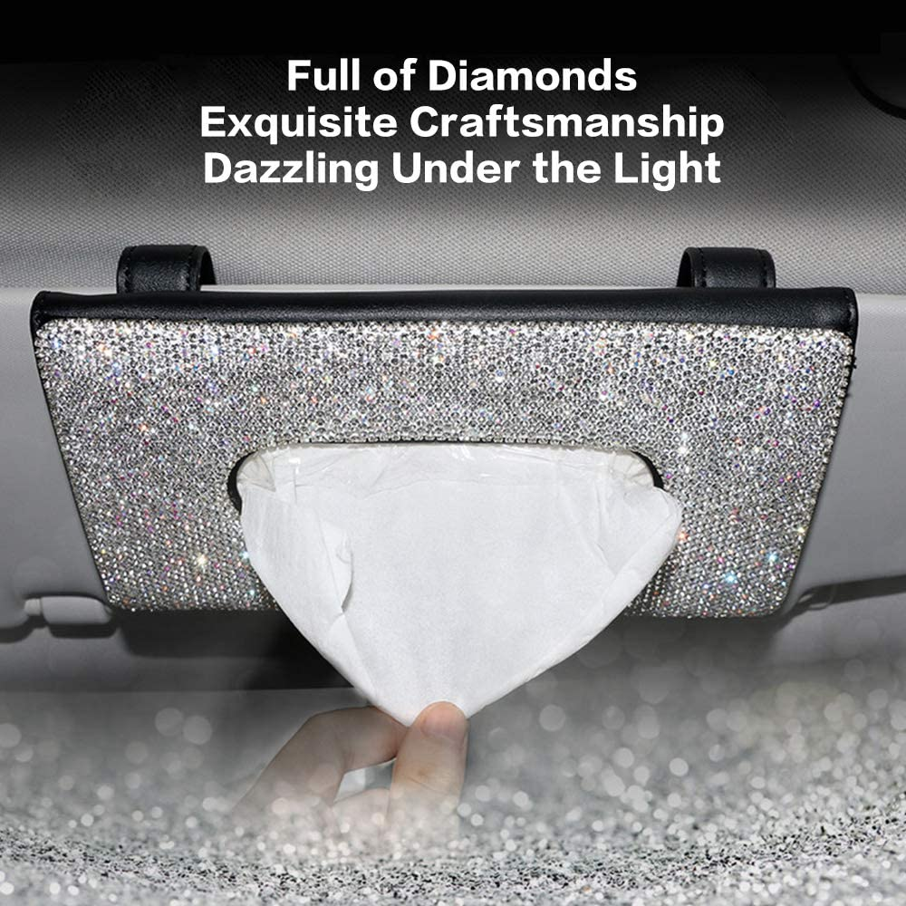 ifory Bling Bling Car Visor Tissue Holder Bling Tissue Box-Black Sun Visor Napkin Holder Leather Crystals Paper Towel Cover Case for Women Hanging Car Tissues Holder