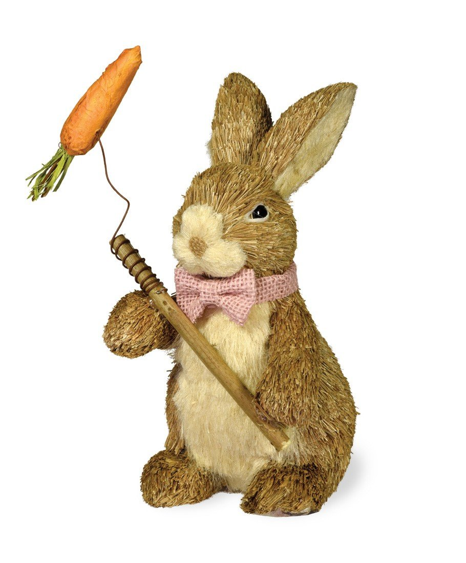 Decorative Tabletop Straw Bowtie Bunny with Carrot