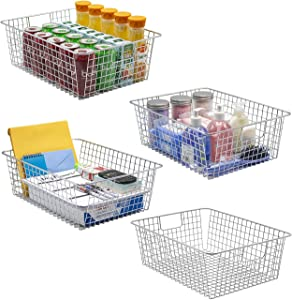 Sorbus Farmhouse Storage Bin Baskets with Handles, Stackable Wire Style Basket Organizer Home Décor, Kitchen Pantry, Bathroom, Laundry Room, Closet Organization, Chrome (4-Pack, Silver)