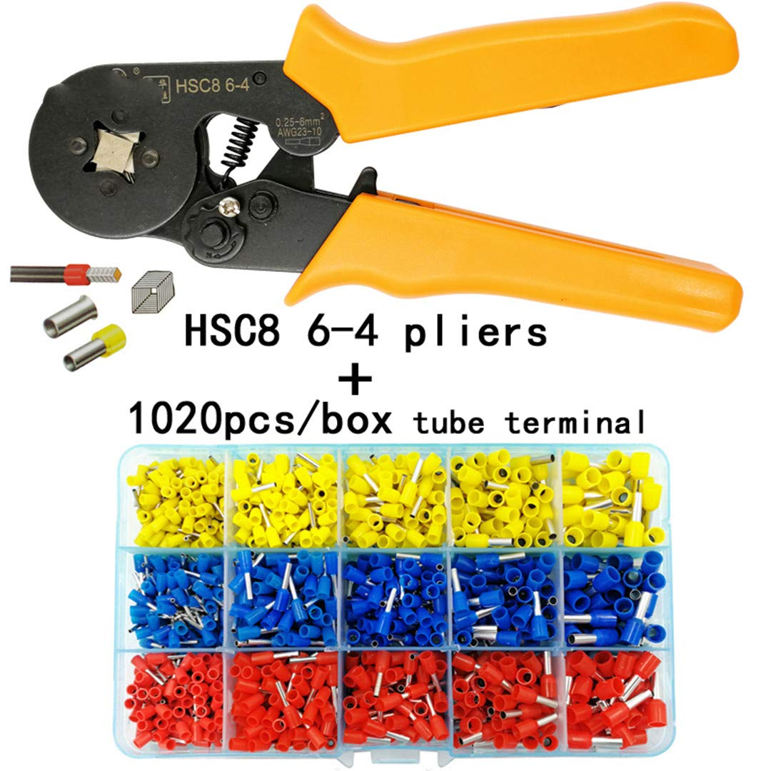 C8 10S Crimping Pliers 0.25-10Mm2 HSC8 6-4/6-6 0.25-6Mm2 Tube Type Needle Terminal Box Set Mini Pressure Wire Tools HSC8 6-4 1020H