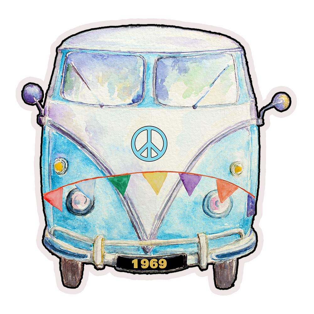 1969 Hippie Peace Van Die Cut Retro Refrigerator Magnet 3x3 Inches by Verde Birdie 1 Piece