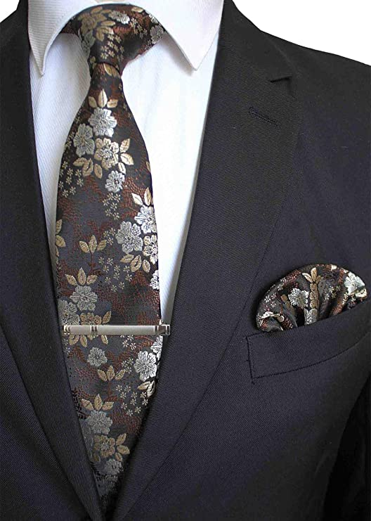 Gentle Conjunto de Clip de Corbata Floral de Seda 100% Hecho a ...