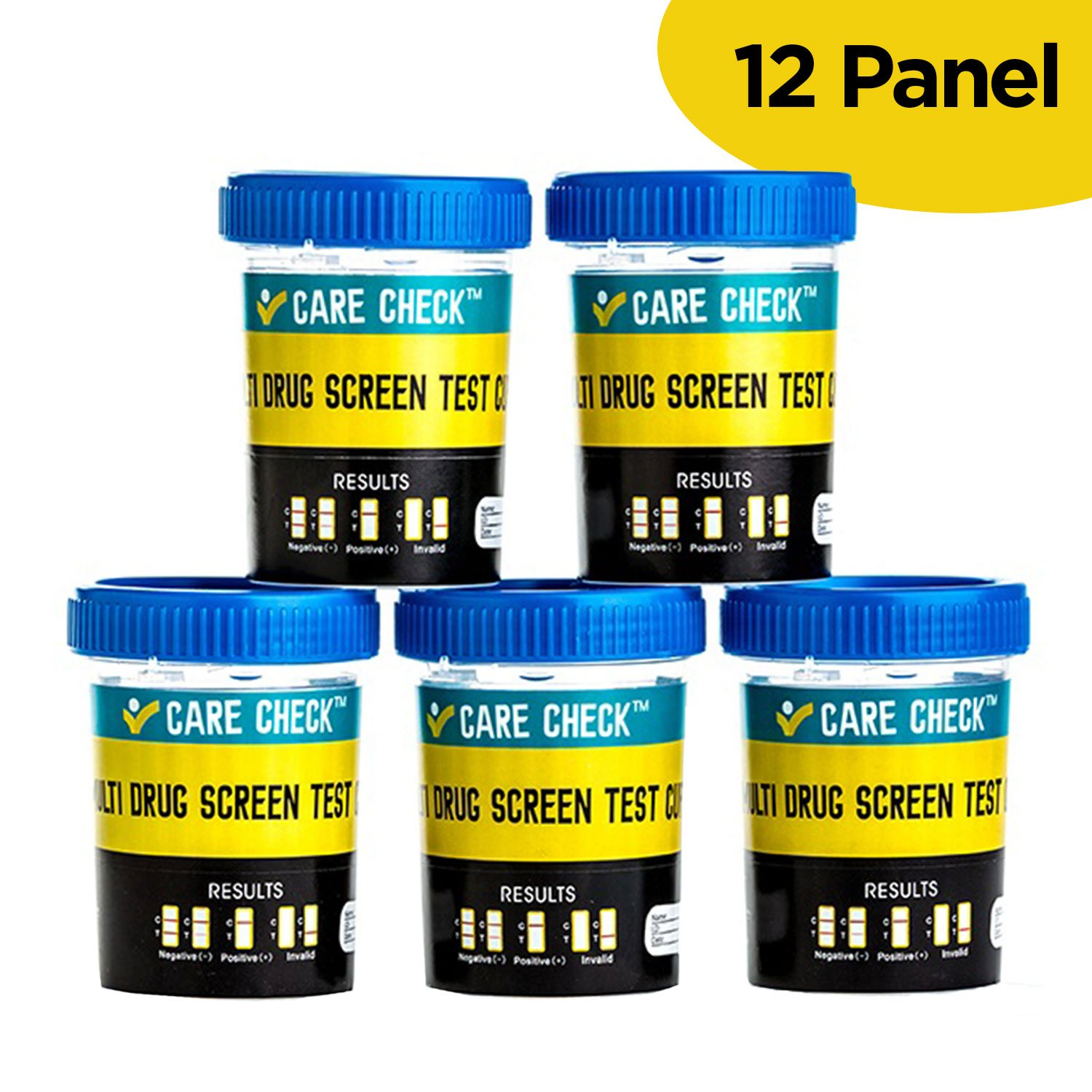 Care Check Sterile 12 Panel Multi Drug Screen Test Urine Sample Collection Cups, (AMP, BZO, BAR, COC, MET, MDMA, MTD, MOP, OXY, PCP, THC and TCA) 5 Pack Individually Wrapped Drug Test Cups
