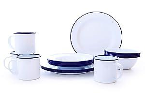 Enamelware Starter Set, 16 piece, Vintage White/Blue
